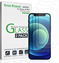 """amFilm Glass Screen Protector Compatible with iPhone 12 Mini (5.4"""" Display, 2020), Tempered Glass with Easy Installation Tray (3 Pack)"""