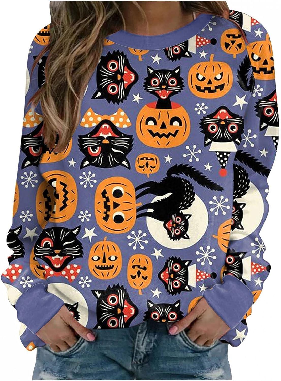 FABIURT Halloween Shirts for Women,Womens Fashion Funny Halloween Printed Long Sleeve Sweatshirt Casual Pullover Blouses