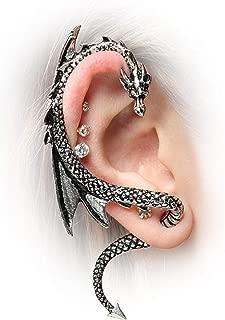 m·kvfa New Dragon Ear Wrap Earring Cuff Earrings Stud Clip On Punk Gothic Fashion Gift Silver-Tone Alloy Stud for Men Women