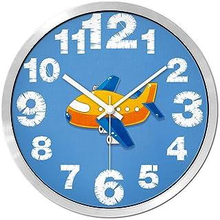 FJH 漫画ミュート壁時計クリエイティブ子供部屋ベッドルームリビングルームかわいいミュートパーソナリティモダン時計クォーツ時計卓上ハンギングテーブル (色 : シルバー しるば゜, サイズ さいず : 14 inches)