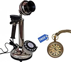 $59 » Vintage Candlestick Phone Functional Desk Telephone Antique Finish with Free (Victoria London Pocket Watch)