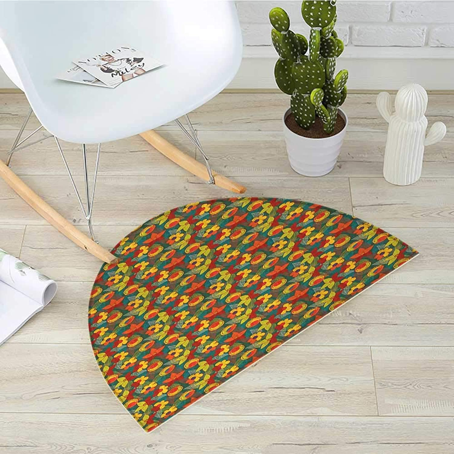Floral Half Round Door mats Doodle Style Flowers with Abstract Foliage Leaves Background Botanic Illustration Bathroom Mat H 43.3  xD 64.9  Multicolor