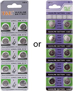 Sixsons 10 Pcs Button Cell Battery AG12 Lithium Battery 1.5V Round Coin Cell Battery For Watch Clocks Controllers Toys LR43 386 SR43 186 SR1142 LR1142 Alkaline Battery