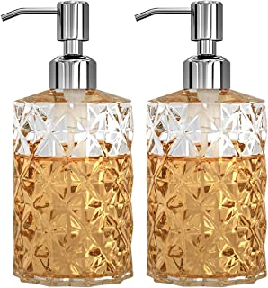 GLADPURE Soap Dispenser - 2 Pack, 12 Oz Clear Diamond Design Glass Refillable Hand Soap Dispensers; with 304 Rust Proof St...