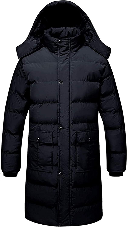 Men's Windproof Hooded Thicken Long Snow Parka Down Alternative Coat