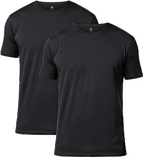 LAPASA 2-Pack Men's Cotton T-Shirts Basic Solid Color Stretch Undershirts Vests V-Neck/Crew Neck Tees M05&M06