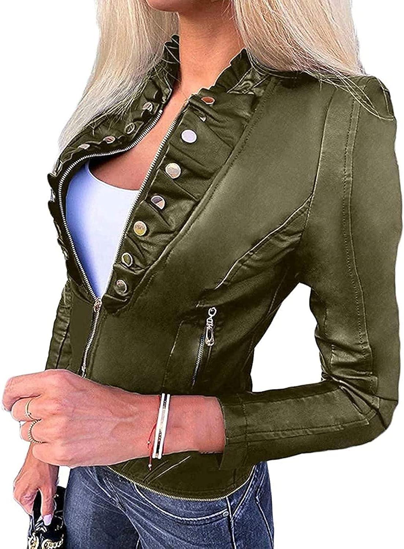 GHJX Women's Zipper Motorcycle Biker Faux Pu Leather Stand Collar Coat Jacket