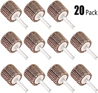 "Koopi 20 Pack 1"" x 1"" x 1/4"" Shank Mounted Flap Wheels, 80 Grit Aluminum Oxide Sanding Flap Wheels for Drill - Abrasive Grinding Tool"