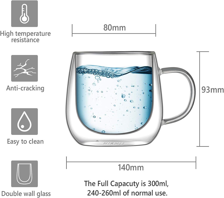 hirmit Doppelwandige Kaffeegl/äser Tassen Cappuccino Latte Macchiato Gl/äser Tassen 250 ml-Glas