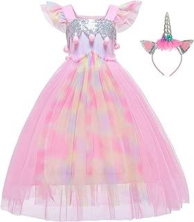 Unicorn Dress Flower Girls Costume Princess Dress with Headband for Girls 2-12 Years