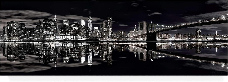 Trademark Fine Art MA01024C824GG Brooklyn Bridge Panorama Black And White by David Ayash, 8x24