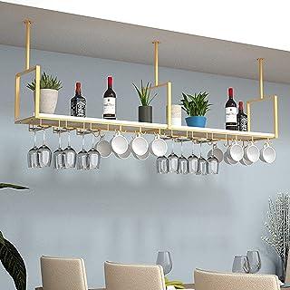 CDPC Supports d'étagère de Plafond , Support de Verre à vin Suspendu en Fer Étagère de décoration de Plafond , pour Bars/R...