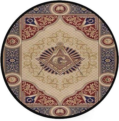 Freemason Area Rug Round Non-Slip Carpet Living Room Bedroom Bath Floor Mat Home Decor (3 Feet Round)