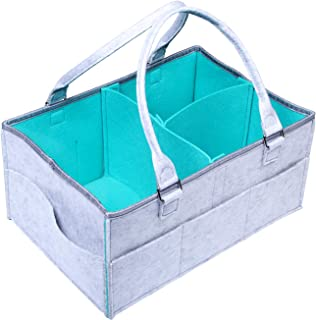 Baby Diaper Caddy Organizer,Portable Nursery Diaper Tote Bag, Boy Girl Diaper Storage Bin for Changing Table Baby Shower Gift Basket