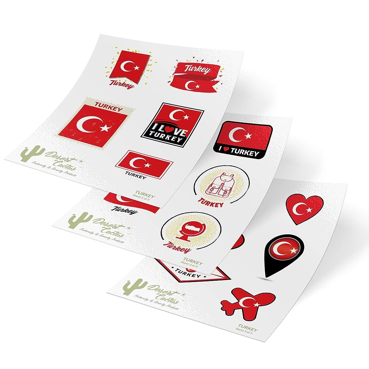 Turkey Country Flag Stickers Decals 3 Sheets 17 Total Pieces Kids Logo Scrapbook Car Vinyl Window Bumper Laptop 3 Sheets
