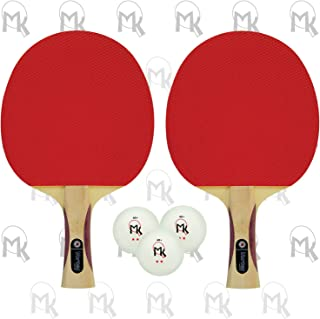 Martin Kilpatrick Vortex Table Tennis Racket 2-Player Set | Pips-Out with Sponge | Red & Black Rubber Surface | 1.5mm Sponge Layer | Flared Handle | Speed: 80 Spin: 70 Control: 80 (202)