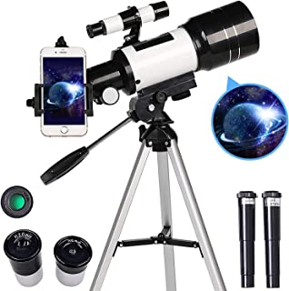 AZOD Telescope for Kids Adults Astronomy Beginners, 150X HD Refractor Telescope for Astronomy, 70mm Telescope with Tripod,...