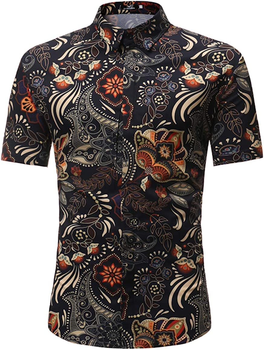 Men's Large Size Shirt Casual Lapel Slim National Style Printed Short-Sleeved Shirt Shirt Simple and Versatile