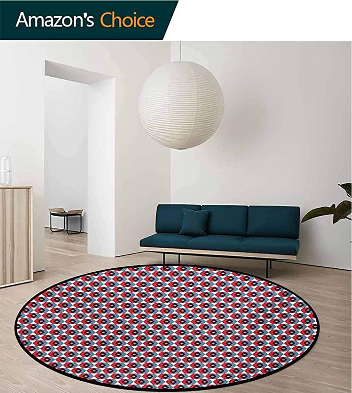 RUGSMAT Geometric Modern Washable Round Bath Mat Vintage Style Chevron And Colorful Hexagonal Motifs Pattern On White Background Non Slip Bathroom Soft Floor Mat Home Decor Round 31 Inch