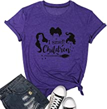 I Smell Children Halloween T-Shirt for Women Funny Sanderson Sisters Witch Tops