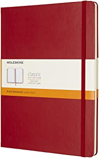 Moleskine Classic Hard Cover Notebook - Ruled - Extra Large - Scarlet Red, (QP090F2)