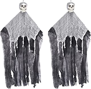 2Pack Halloween Decoration Shaking Ghost Hanging Skeleton Ghost Halloween Decorations Skull Gauze Ghost Pendant Indoor and...
