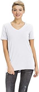 NANAVA Women's Solid Cotton V-Neck Short Sleeve Top T-Shirts