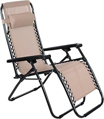 Cosway Folding Zero Gravity Reclining Chaise Lounge with Adjustable Headrest for Beach Yard Outdoor (Khaki)