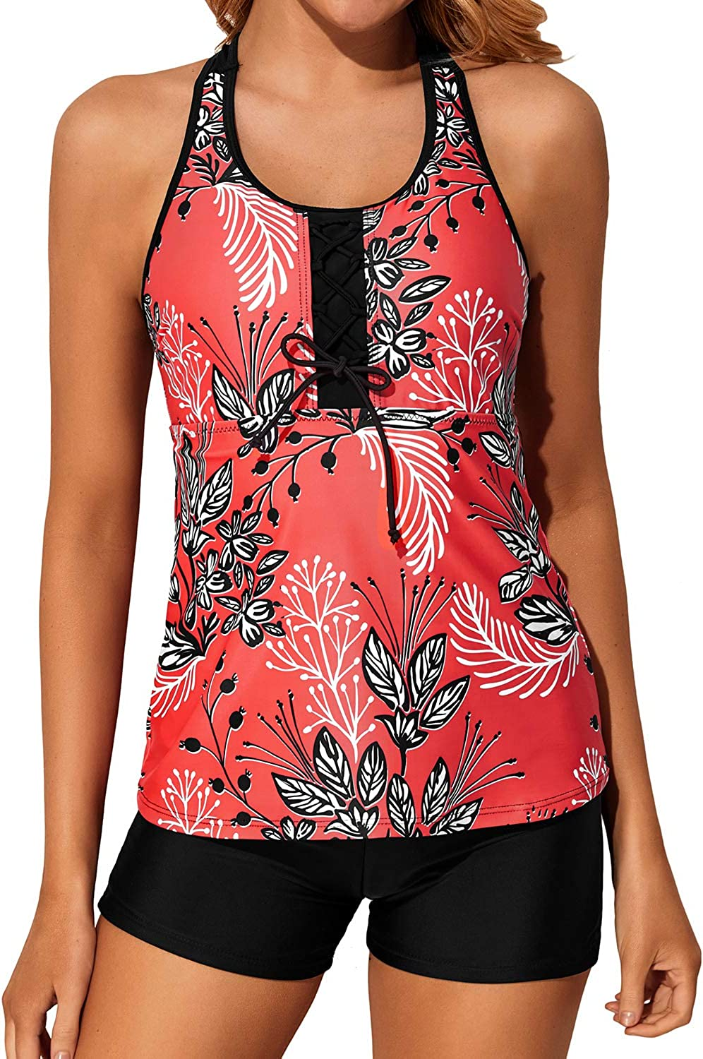 Holipick Racerback Tankini Swimsuits for Women with Shorts Tummy Control Two Piece Bathing Suits Athletic Swim Tank Top