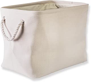 DII Collapsible Variegated Polyester Storage Basket or Bin with Durable Cotton Handles, Home Organizer Solution for Offic...