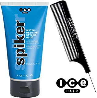 ICE HAIR by Joico SPIKER Water-Resistant STYLING GLUE (with Sleek Steel Pin Tail Comb) (5.1 oz / 150 ml - ORIGINAL SIZE)
