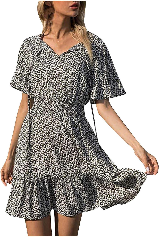 Qonii Floral Dress for Women Neck Ruffle Miami Mall Bandage Topics on TV