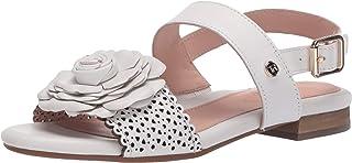 Taryn Rose Women's Ankle strap Flat Sandal, white, 6 Medium