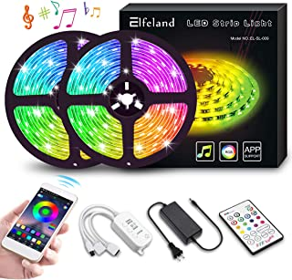 LED Strip Lights, Elfeland 32.8ft 10m 300 LEDs IP65 Music Sync Color Changing Rope Lights SMD 5050 RGB Light Strips with APP Controller Tape Lights for TV, Bedroom, Party, Home Decoration