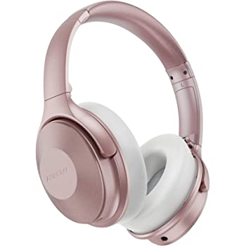 Mpow 45Hrs Pink Active Noise Cancelling Headphones, H17 Bluetooth Headphones with Microphone, Over Ear, Quick Charge, Deep Bass, Wired/Wireless Headset for Kids, Adults, Travel, Online Class, Office
