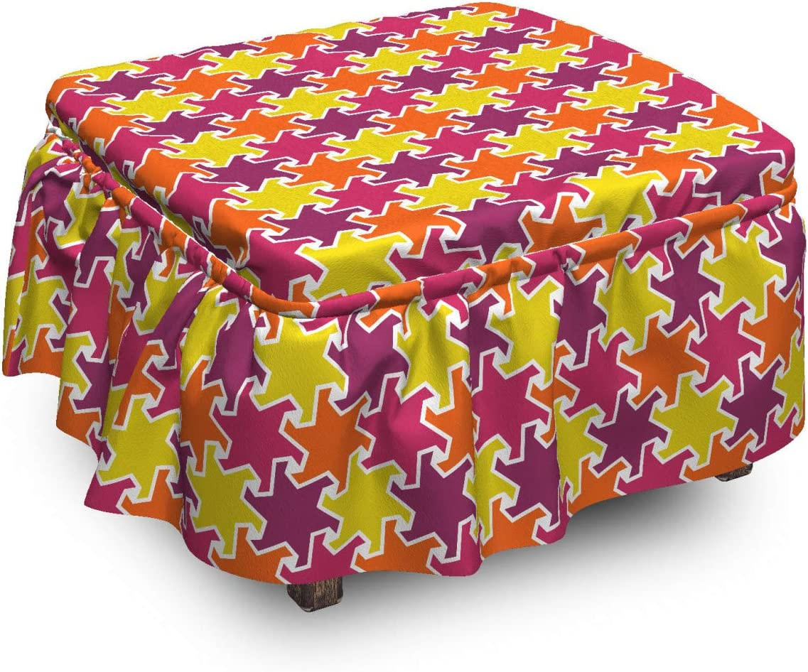 Lunarable Max 72% OFF Abstract Ottoman Omaha Mall Cover Stars Motifs 2 Inspired P Art