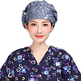Women's Adjustable Cap Hair Covers Cotton Hats with Sweatband Multi-Color