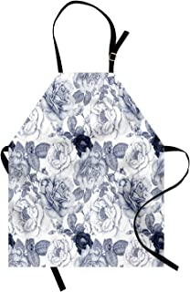 Ambesonne Shabby Flora Apron, Garden Spring Roses Buds with Leaves Flowers Romantic Image Artwork, Unisex Kitchen Bib with Adjustable Neck for Cooking Gardening, Adult Size, Cadet Blue