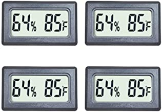 Veanic 4-Pack Mini Digital Thermometer Hygrometer Meters Gauge Indoor Large Number Display Temperature Fahrenheit (℉) Humidity for Home Office Humidors Jars Incubators Guitar Case