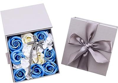 Okawari Home ソープフラワー 枯れない花 創意贈り物 封筒付き フラワーギフト ブルー フラワー 石鹸花束 誕生日 結婚祝い 結婚記念日 お見舞い バレンタインデー