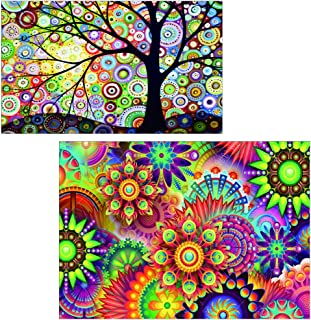 5D DIY Diamond Painting by Number Kits Full Drill Cross Stitch Rhinestone Embroidery Paint for Kaleidoscope Mandala(16X12inch) Colorful Dream Tree(12X8inch)