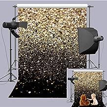 Art Studio 5x7ft Fashion Wedding Photography Backdrops Gold Glitter Sequin Black Photo Background Starry Sky Shining Newborn Photo Children Birthday Party Decor Studio Props Vinyl