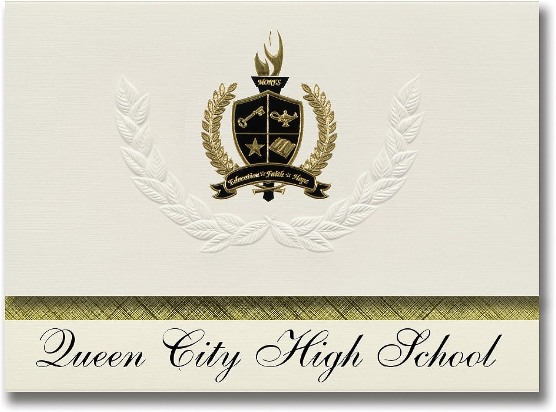 Signature Ankündigungen Queen City High School (Queen (Queen (Queen City, TX) Graduation Ankündigungen, Presidential Stil, Elite Paket 25 Stück mit Gold & Schwarz Metallic Folie Dichtung B078VCXWX9   | Ein Gleichgewicht zwischen Zähigkeit und Härte  04119b