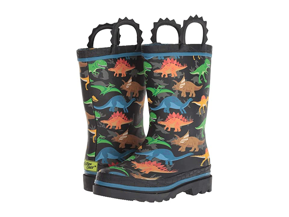 Western Chief Kids Limited Edition Printed Rain Boots (Toddler/Little Kid) (Dino World Black) Boys Shoes