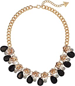 Floral Motif Collar Necklace with Stone Accents
