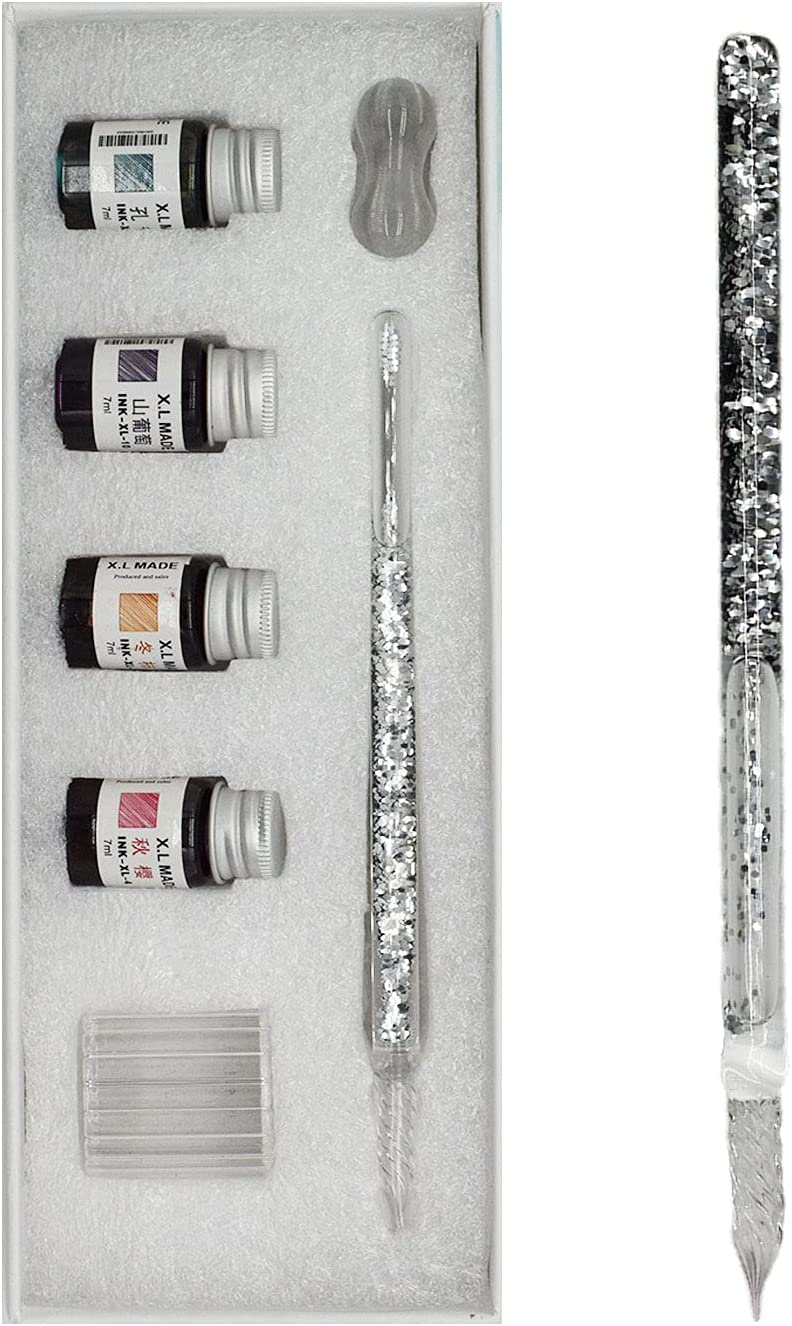 Glass Dipped Pens Ink Set 7 Max 41% OFF Dipping Calligraphy Pe Many popular brands Pcs Handmade