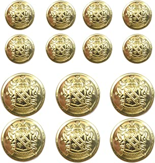 14 Piece Metal Blazer Button Set - for Blazer, Suits, Sport Coat, Uniform, Jacket (Gold)18mm 23mm