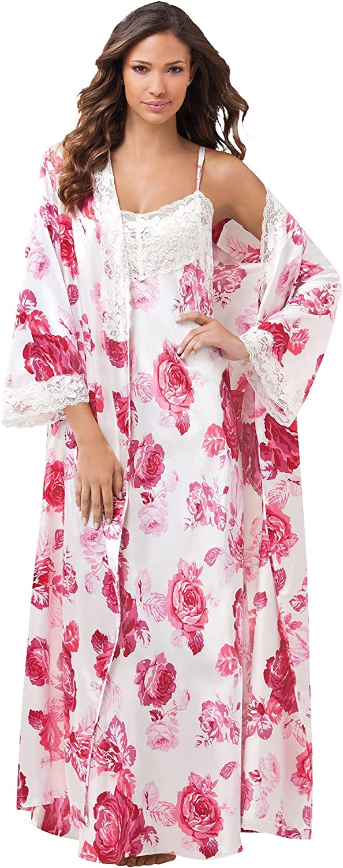 Amoureuse Women's Plus Size The Luxe Satin Long Peignoir Set Pajamas