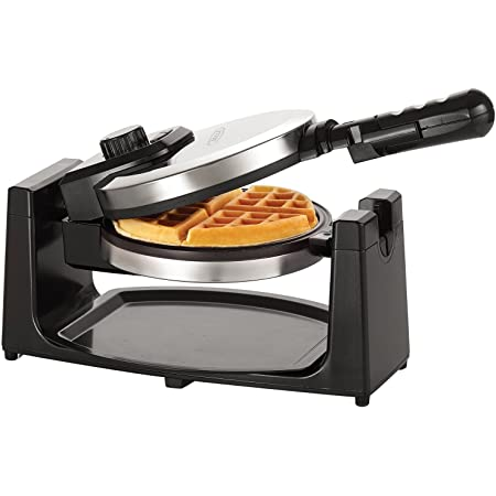 """BELLA Classic Rotating Non-Stick Belgian Waffle Maker, Perfect 1"""" Thick Waffles, PFOA Free Non Stick Coating & Removeable Drip Tray for Easy Clean Up, Browning Control, Stainless Steel"""
