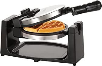 BELLA (13991) Classic Rotating Non-Stick Belgian Waffle Maker with Removeable Drip Tray & Folding Handle, Polished Stainless Steel